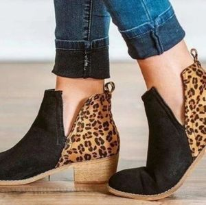 Leapord print ankle boots